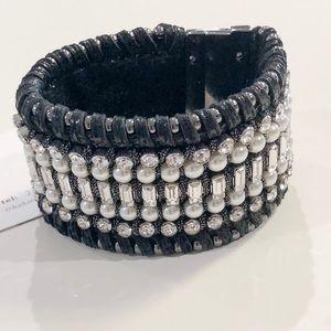 Henri Bendel Metallic leather cuff w/pearls